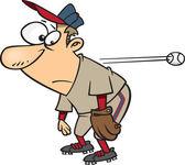 Clipart Cartoon Slow Reacting Baseball Player Ignoring The Ball - Royalty Free Vector Illustration by Ron Leishman — Stock Vector