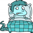 A Colorful Cartoon of a Scared Boy In Bed Worrying About Monsters Under His Bed — Stockvector  #13915200