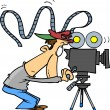 Cartoon Movie Camera Operator — Stock Vector