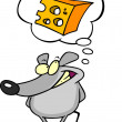 Mouse Thinking About Cheese — Vettoriali Stock