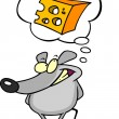 Mouse Thinking About Cheese — Imagen vectorial