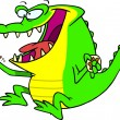 图库矢量图片: Royalty Free Clipart Image of Gator Eating Donut
