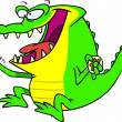 Royalty Free Clipart Image of a Gator Eating a Donut — 图库矢量图片