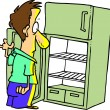 Stock Vector: MLooking in Empty Fridge