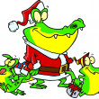 Alligator santa with little gator elves, on a white background. — Stock Vector