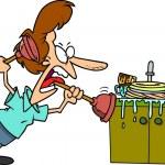 Cartoon Clogged Kitchen Sink — Stock Vector #13916632