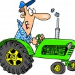 Cartoon Farmer Tractor — Stock Vector
