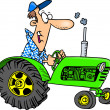 Cartoon Farmer Tractor - Stock Vector