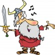 Stock Vector: Cartoon Viking Singing a Song