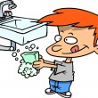 Cartoon Boy Washing His Hands — Stock vektor #13917352