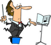 Cartoon Music Conductor — Stock Vector