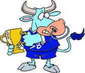 Cartoon Bull Champion — Stock Vector