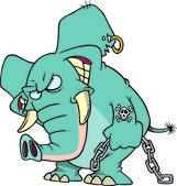 Cartoon Evil Elephant — Stock Vector