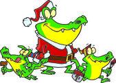 Alligator santa with little gator elves, on a white background. — Stock Vector