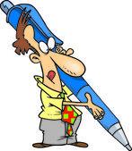 Uomo di cartone animato con penna gigante — Vettoriale Stock