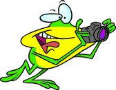 Cartoon Frog Photographer — Stock Vector