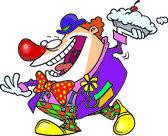 Cartoon Clown Pie Thrower — Stock Vector