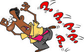 Cartoon Man Avoiding Questions — Stock Vector