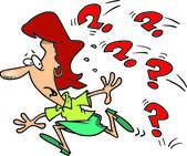 Cartoon Woman Avoiding Questions — Stock Vector