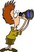 мультфильм женщина ищет через бинокль — Cтоковый вектор