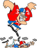 Cartoon Football Player Stomp — Stock Vector