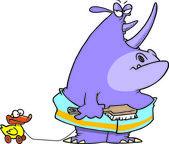 Cartoon Rhino Bath Time — Stock Vector