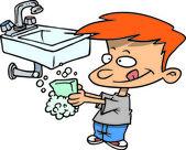 Cartoon Boy Washing His Hands — Stock Vector