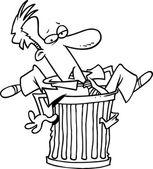 Cartoon Man in Garbage Can — Stock Vector