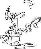 Cartoon Man Cooking Pancakes — Stock Vector