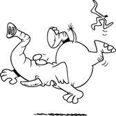 Cartoon Elephant Slipping on Banana Peel — Stock Vector