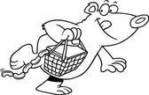 Cartoon Bear Stealing a Picnic Basket — Stock Vector