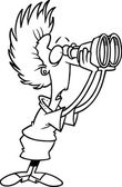 Cartoon Woman Looking Through Binoculars — Stock Vector