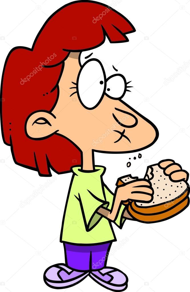 Fille de dessin anim manger un sandwich image vectorielle ronleishman 13916561 - Dessin manger ...