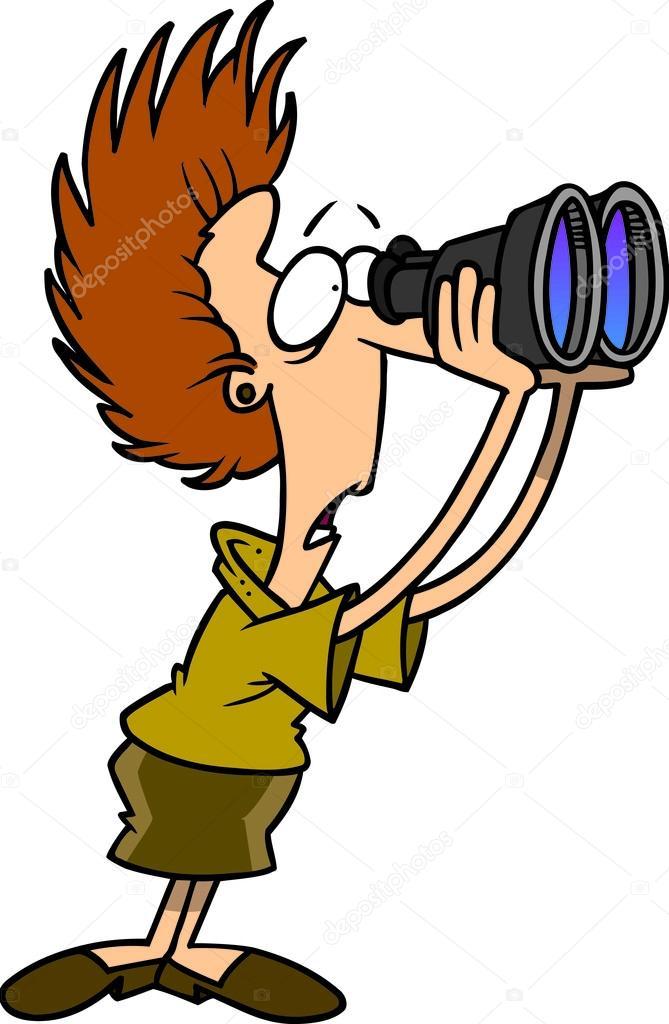 望通过双筒望远镜的卡通女