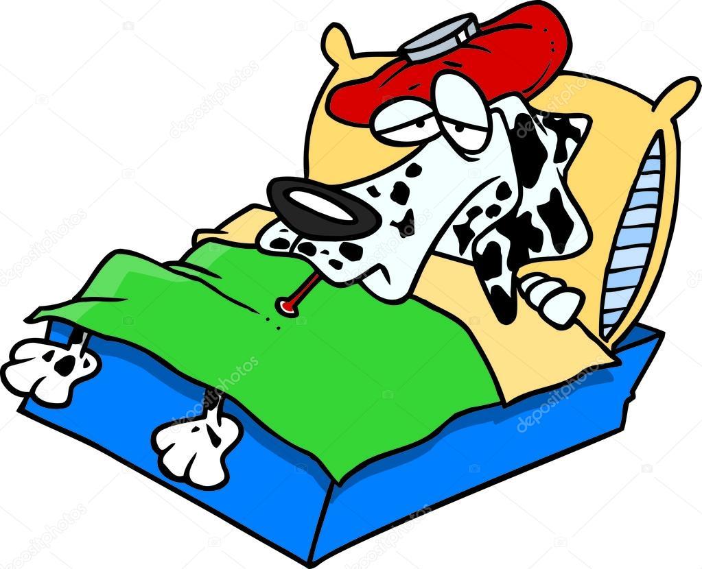 Dog Sick In Bed Clip Art