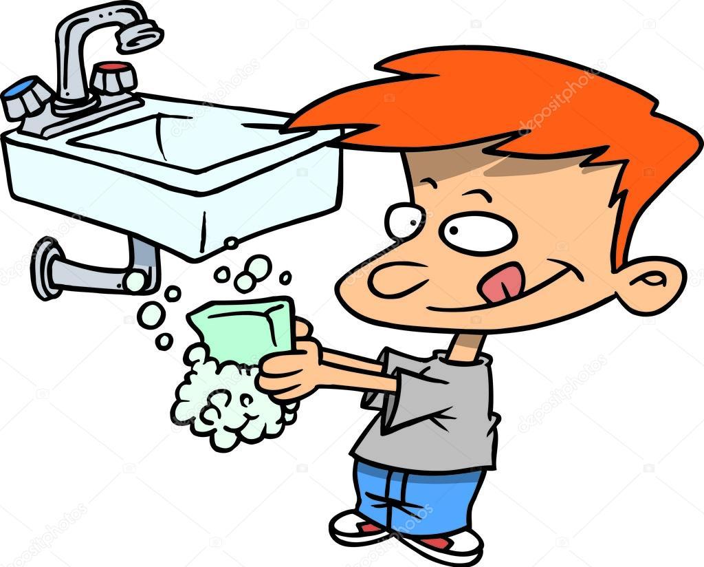 Boy Washing Face Boy Washing Face With