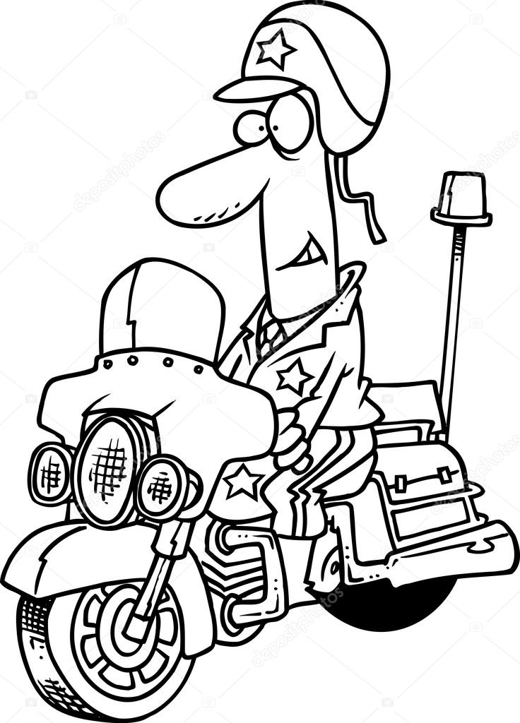 dessin anim police moto image vectorielle ronleishman 13917828. Black Bedroom Furniture Sets. Home Design Ideas