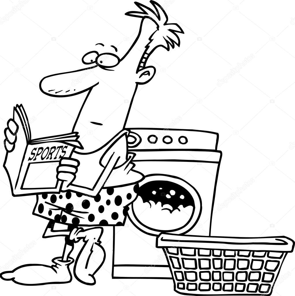 Cartone animato uomo lavanderia — vettoriali stock