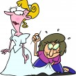 Cтоковый вектор: Cartoon Last Minute Wedding Dress Adjustment