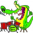 Cartoon Gator Drums — Stock Vector