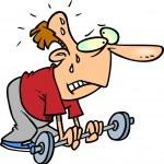 Cartoon Weak Weightlifter — Stock Vector