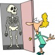 Stock Vector: Cartoon Skeleton in Closet