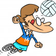 Cartoon Boy Playing Volleyball — Stock Vector