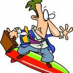 Cartoon Businessman Surfer — Stock Vector