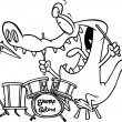 Stock Vector: Cartoon Gator Drums