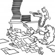 Cartoon Woman Overwhelmed by Paperwork — Stockvectorbeeld