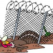 Cartoon Turkey Prison Break - Stock Vector