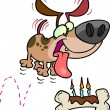Royalty-Free Stock Vector Image: Cartoon Dog Birthday Bone