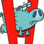 Cartoon Hippo Alphabet Letter H — Stock Vector