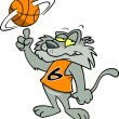 Cartoon Wildcat Basketball — Stock Vector #13949884